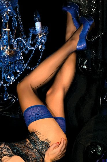Cobalt Blue Lace Top Hold Ups