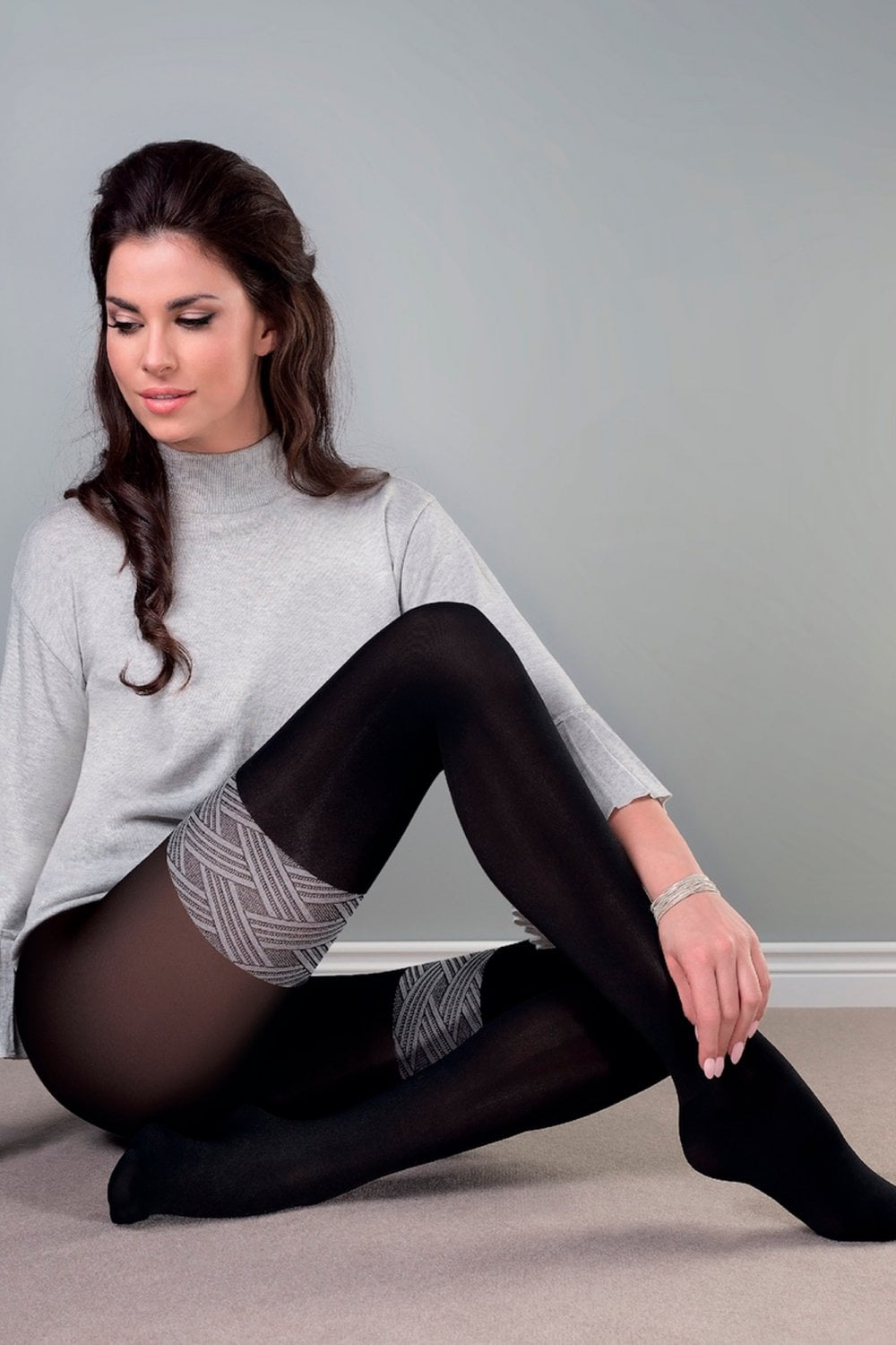 bc0051a79b5ff Gabriella Paula Opaque Tights with Thigh Pattern | Leglicious