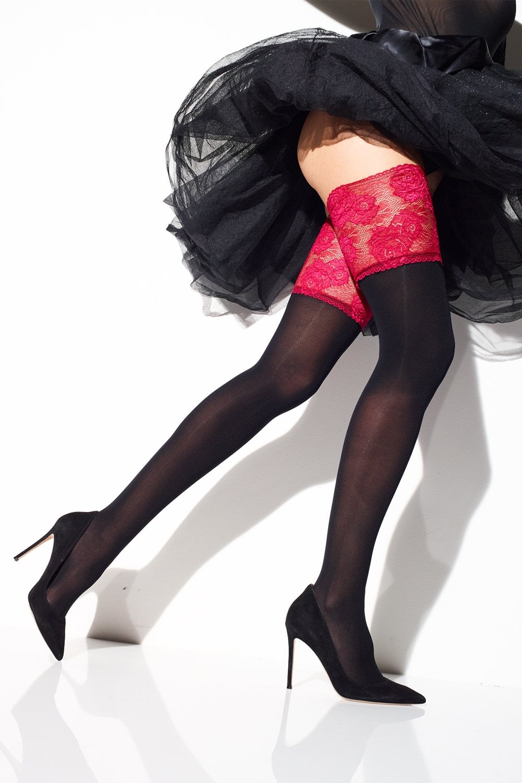 260b54ebb Girardi Matisse Red Lace Hold Ups